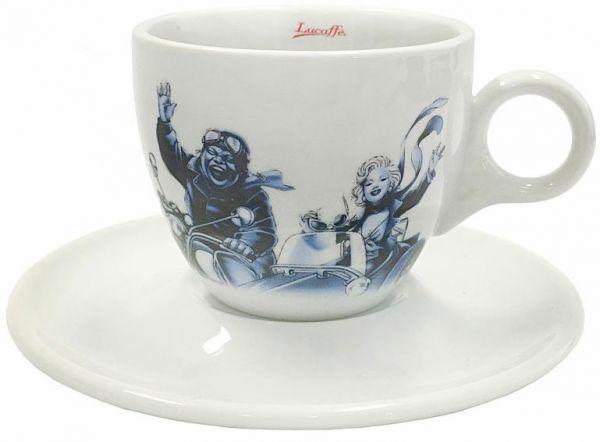 Lucaffe Cappuccino Tasse blau/weiß Blucaffe